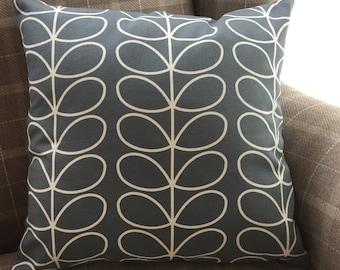 Handmade Orla Kiely Linear Stem Charcoal Design Cushion.