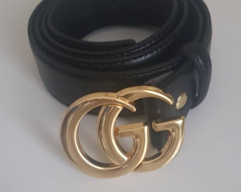 8336c4668832 Black GG belt 3.8cm - Light Gold Buckle