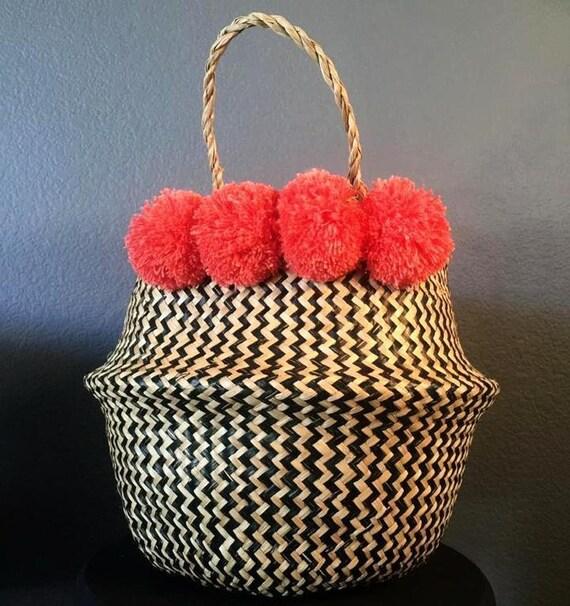 Coral Pom Pom Seagrass Basket Medium Noir Woven Foldable | Etsy