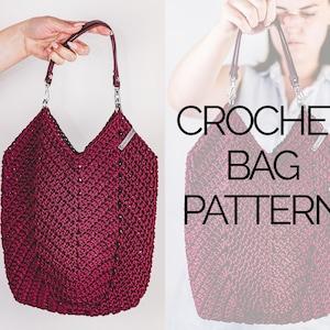 Crochet Tulip Bag Crochet Market Bag Pattern Crochet Reusable Net Bag Pattern PDF Crochet Bag with Handles Pattern Tutorial Video