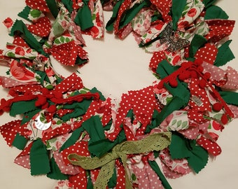 Rag Wreath - Red & Green