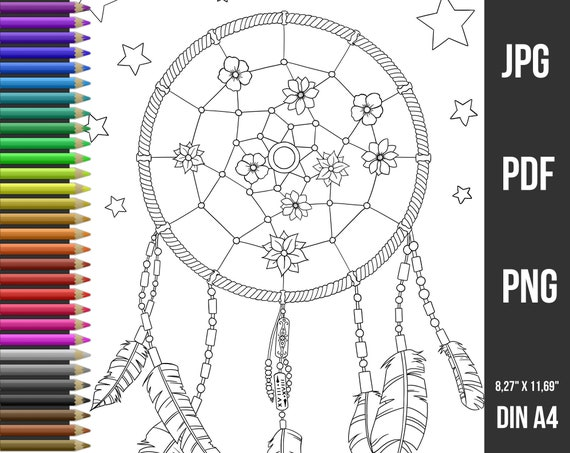 - Dreamcatcher Coloring Page For Adults Coloring Page Download Etsy