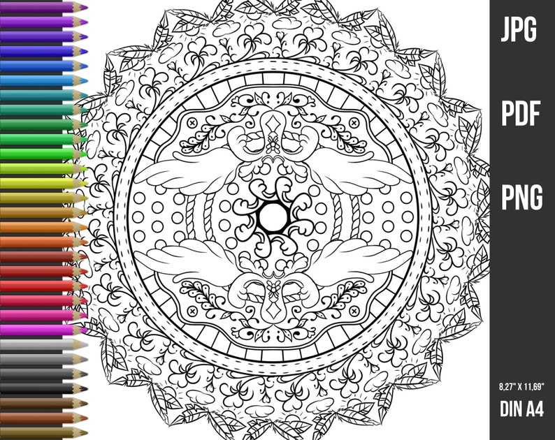 Mandala Coloring Page For Adults Coloring Book Pdf Download A4 Instant Digital Download Mandala Colouring