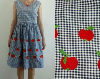 Pin up dress, '50s dress, Midi dress, Checked dress, Embroidered dress, Blue and White dress, Vintage dress, Retro dress