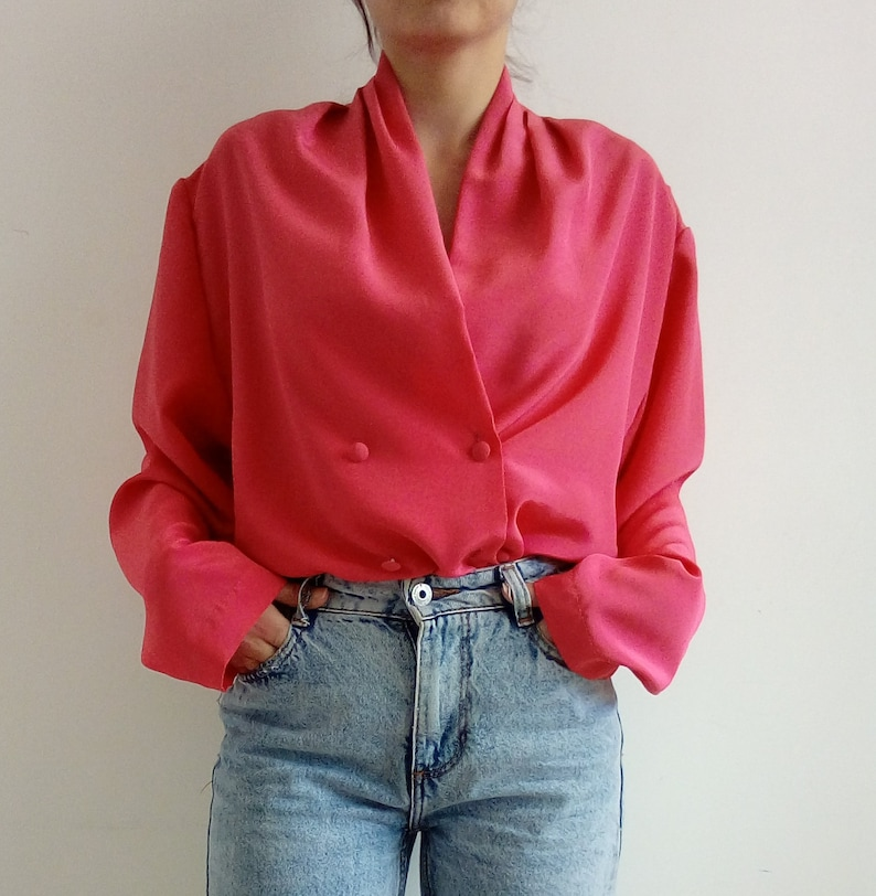 5428cb18a Vintage blouse Fuchsia blouse Button down top Pink shirt | Etsy