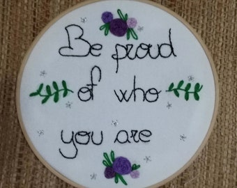 Embroidered Phrase and flowers