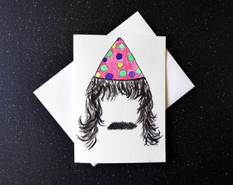 Awesome Birthday Card, Legendary Birthday Card, Man Birthday Card, Party Animal  Card, Epic Birthday Card, Moustache Card, Watercolour Card