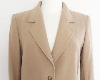 Vintage camel Jaeger fitted jacket smart jacket camel beige lined collar button front jacket brown lined long sleeved jacket single breasted