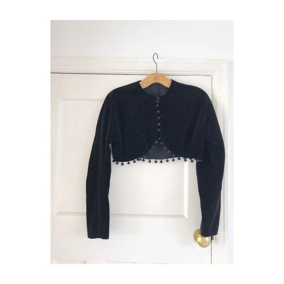 Vintage Horrockses velvet cropped  pom pom jacket… - image 2