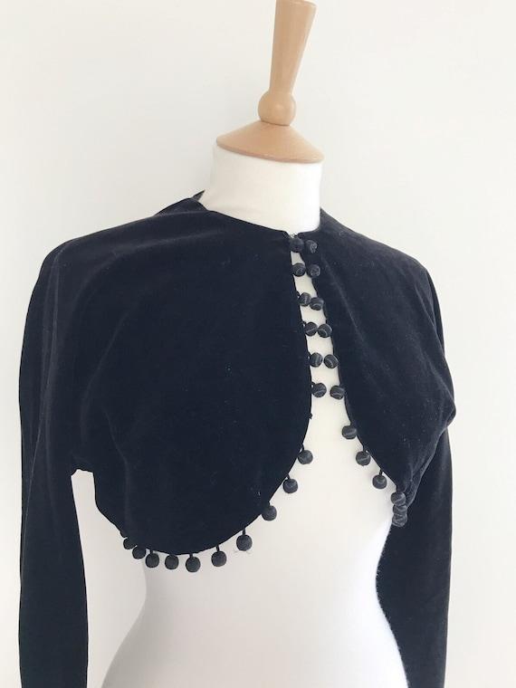 Vintage Horrockses velvet cropped  pom pom jacket… - image 3