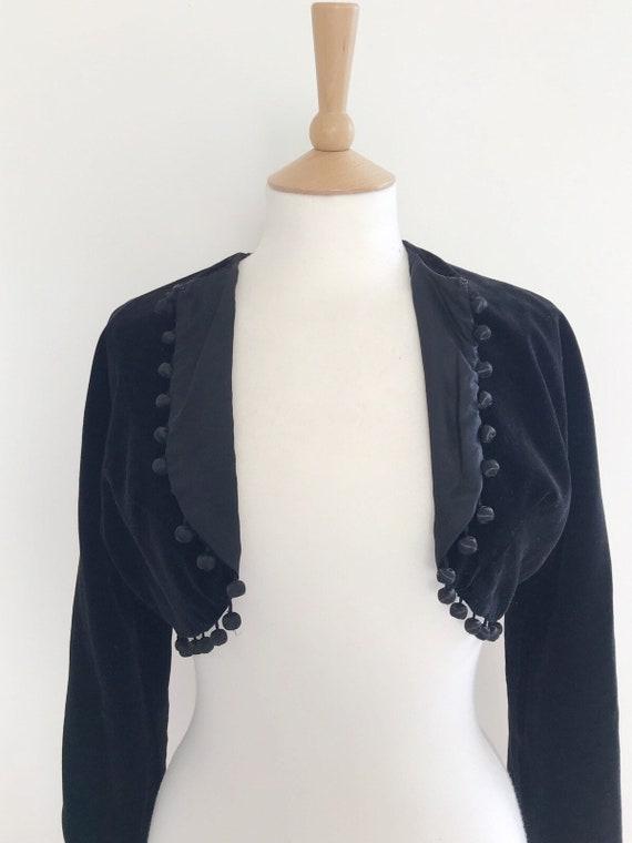 Vintage Horrockses velvet cropped  pom pom jacket… - image 9