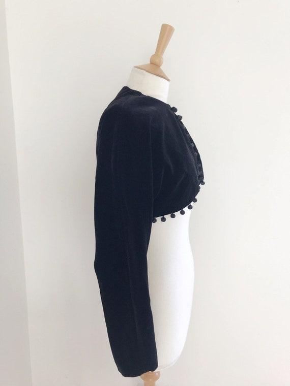 Vintage Horrockses velvet cropped  pom pom jacket… - image 6
