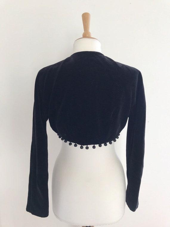 Vintage Horrockses velvet cropped  pom pom jacket… - image 4