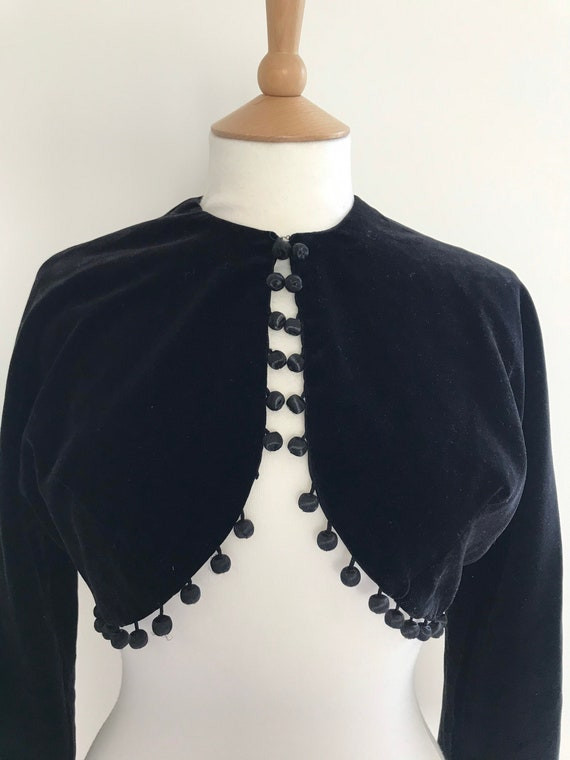 Vintage Horrockses velvet cropped  pom pom jacket