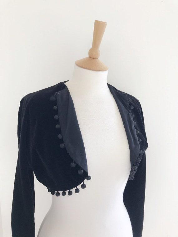 Vintage Horrockses velvet cropped  pom pom jacket… - image 8