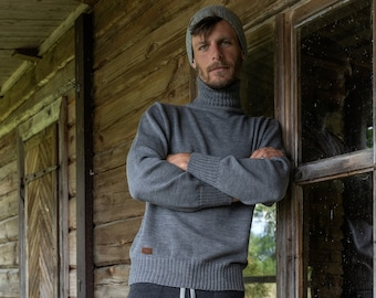 Gray Merino Wool Turtleneck, Men's Knitted Pullover, Hand Knitted Natural Wool Man's Jumper in Gray