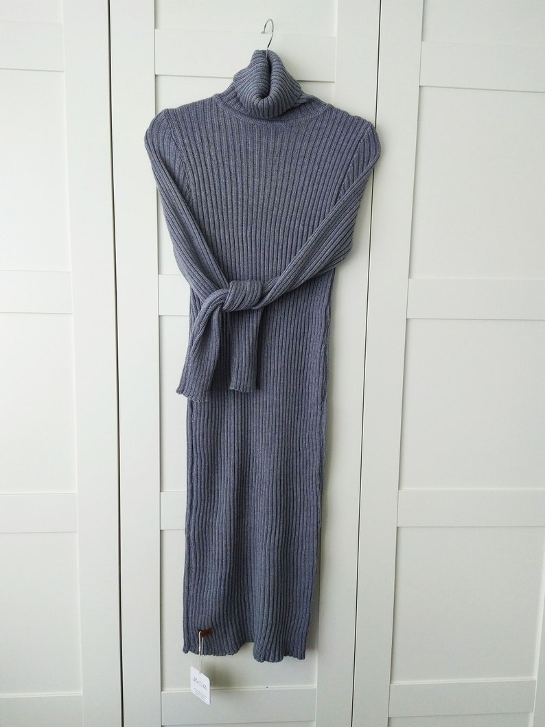Long 100/% Merino Wool Turtleneck Sweater Dress Soft Hand Knitted Christmas Dress in Red Natural Wool Maxi Dress