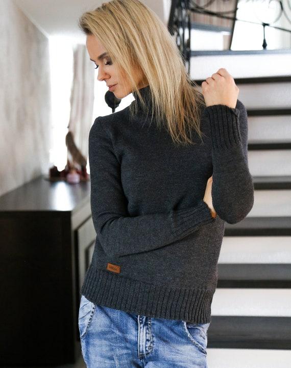 Womens mock neck sweater, Merino wool top, High neck pullover, Wool knit turtleneck sweater, Dark grey knitted sweater, Sweater for women