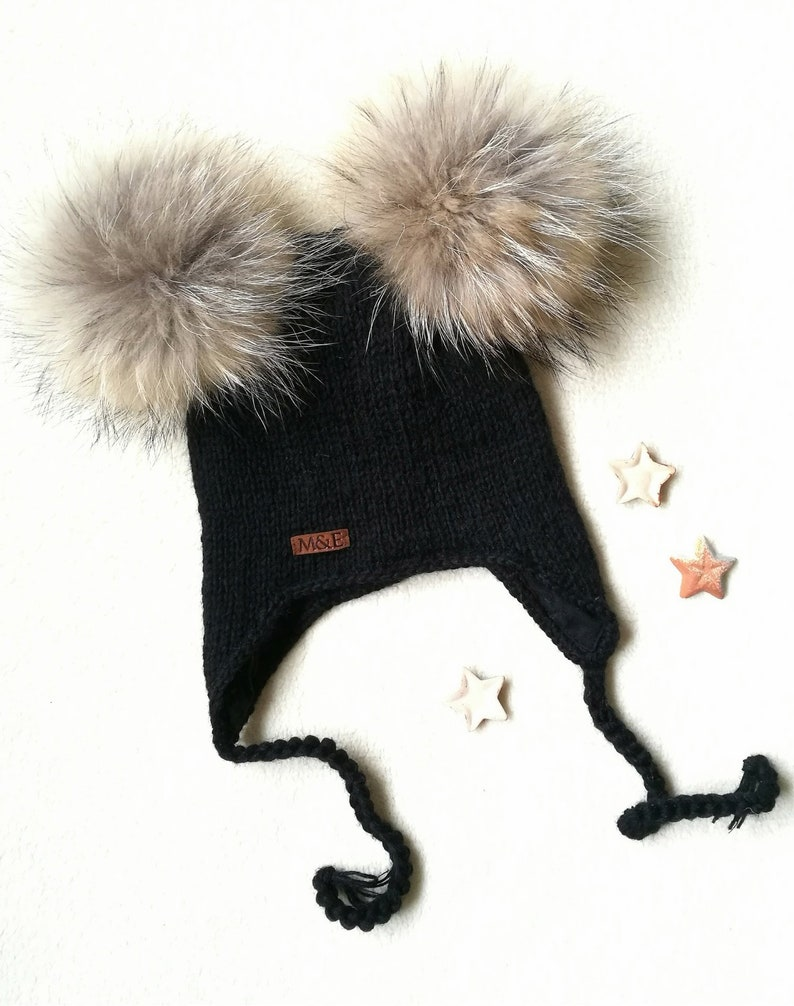 2495d0925 Chullo hat for kids, Natural fur pom pom hat, Hand knit hat with lining,  Hand knit ear flap hat, Kids knitted winter hat, Black beanie hat