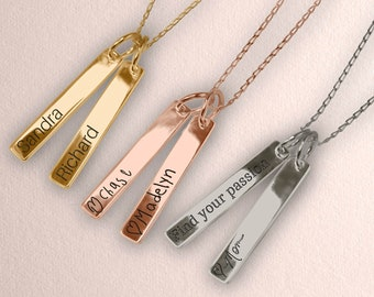 Personalized Vertical Bars Necklace with your own Handwriting