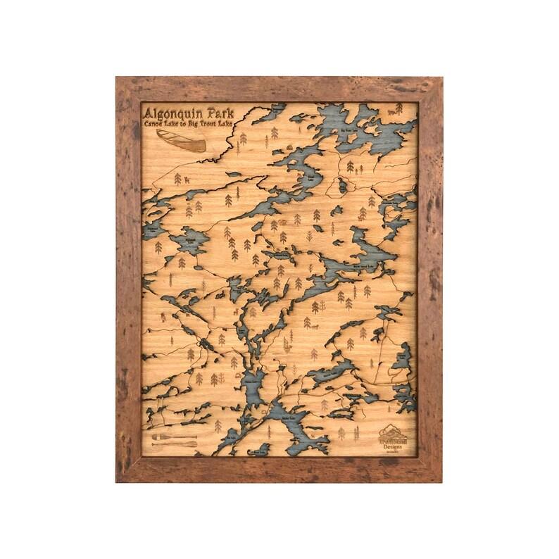 Algonquin Park Canoe To Big Trout Wood Cut Map Etsy