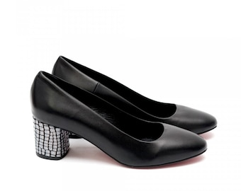 Women Black Genuine Leather Low Pumps by Galdi,17307-385