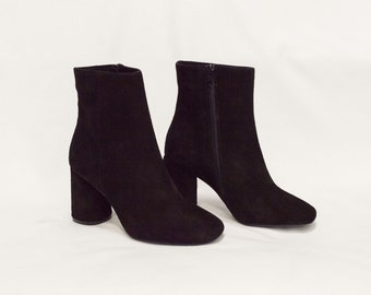 Women Black Genuine Suede High Heel Boots with Warm Inner Linning, Elegant Ankle Boots, Black Suede Ankle Booties, High Quality Footwear
