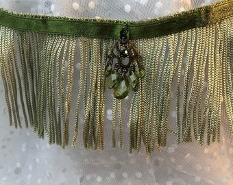 Sage Tassels Lace dog necklet (neck size 12-14 inches)