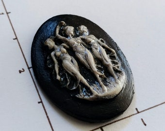 Triple Goddess Sisters Cameo Black silver white  Made in the USA