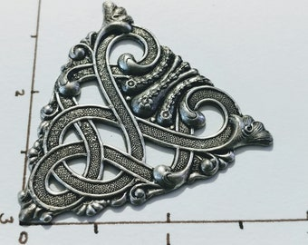 Celtic Design Stamping Ornate triangle Oxidized Sterling Silver