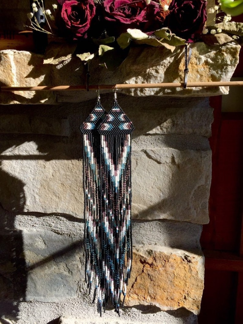 Long fringes  Beaded earrings  Satement jewelry  Seed beads  Beaded fringe  Long earrings  Unique  Boho  Bohemian jewelry