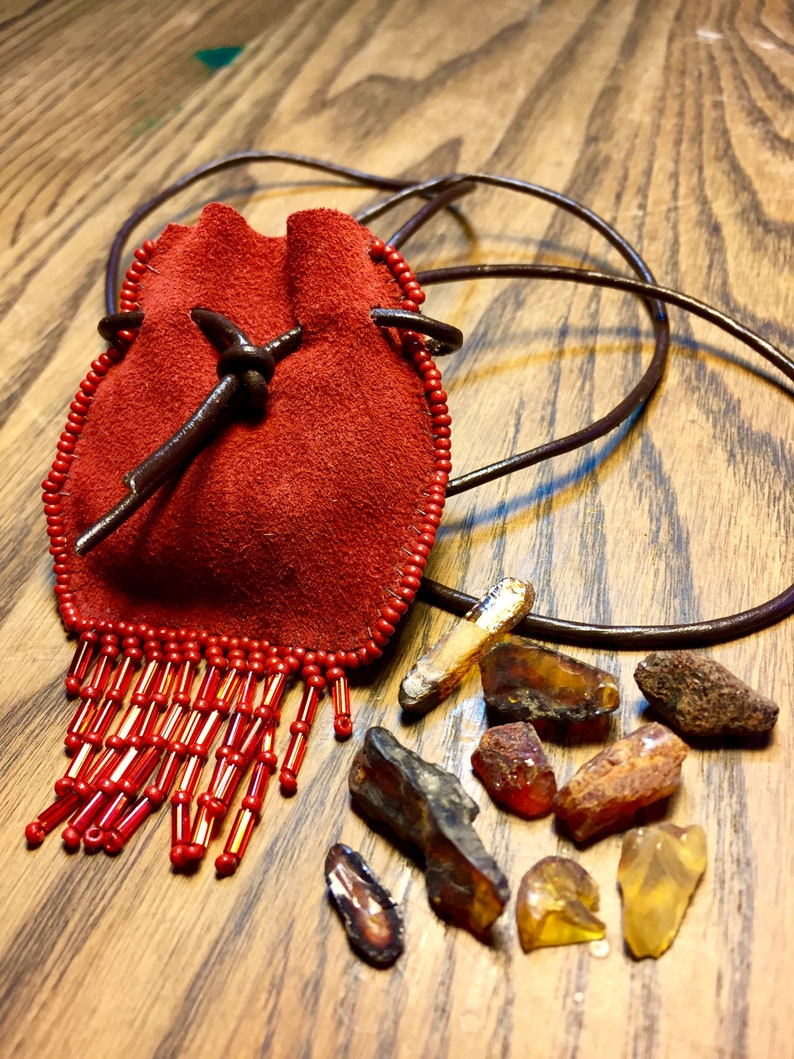Leather bag seed beads beaded fringe leather jewelry fringe bag necklace hand sewn leather purse handmade red soft leather
