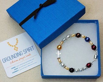 Pearls of Life Lutheran prayer beads/rosary - Czech glass pearl bracelet with mother-of-pearl cross and magnetic clasp