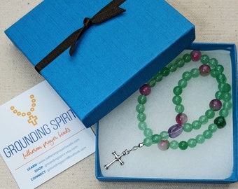 "Lutheran Lenten Rosary - aventurine, Malay ""jade,"" amethyst, silver-plate cross"