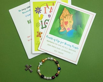 Girl's Pearls of Life Czech glass pearl elastic bracelet with prayer cards -- gift pack