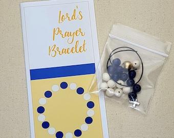 Lord's Prayer DIY bracelet - elastic bracelet with wooden beads and cross