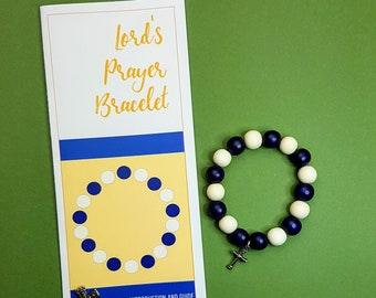 Lord's Prayer bracelet - elastic bracelet with wooden beads and cross
