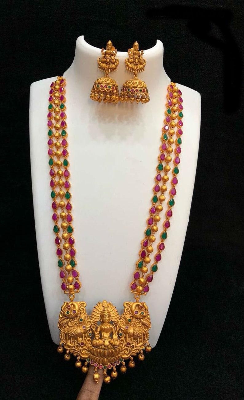 77c83c1ac Temple Jewelry Laxmi Haram Kemp Stones Jumka Earrings   Etsy