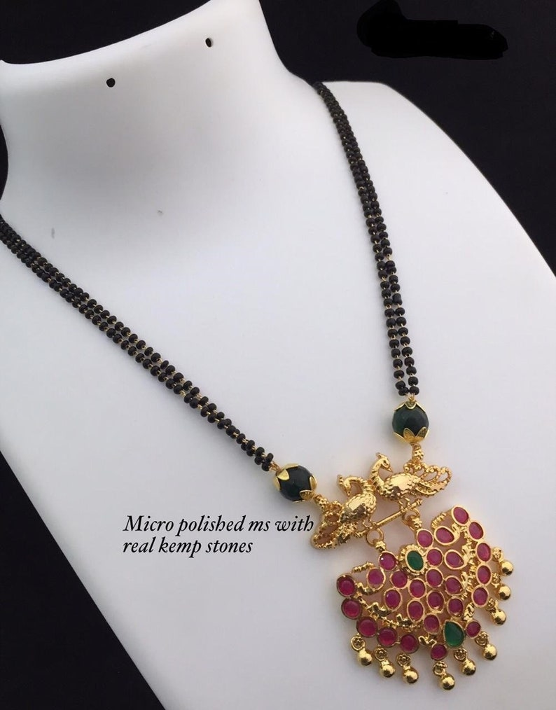 9ca57b29154d3 Mangalsutra | Black Beads | Peacock |South Indian Jewelry | Indian Jewelry  |Indian Wedding |Beaded Necklace | Bridal | Gold | Thali | Minnu