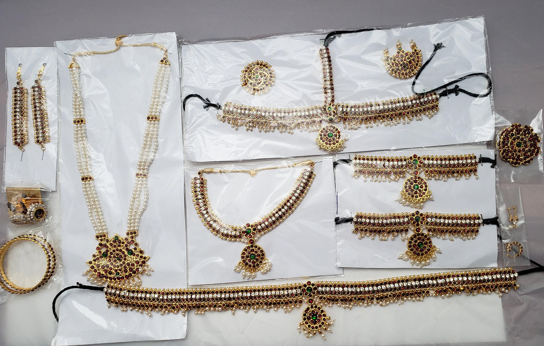 Bharatanatyam   Kuchipudi   Classical Dance Jewelry   Kemp Stones   10  Pieces Set  Temple Jewelry   South Indian Wedding   Traditional Set