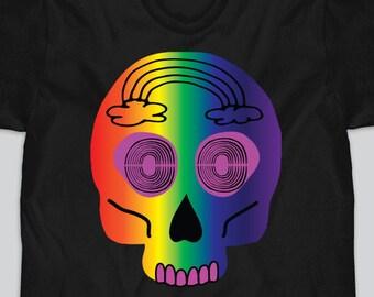 Rainbow Skull Shirt, Rainbow Skull top, Gay Skull Shirt, Rainbow Goth Shirt, Rainbow Goth Top, Gay Goth, Gift for LGBTQ, Gay Pride Gift