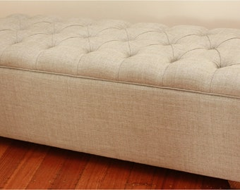 Diamond buttoned upholstered footstool, ottoman, bedroom stool, blanket box