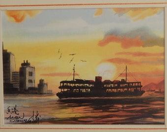 Ferry Sunset - Hong Kong; Watercolour Print