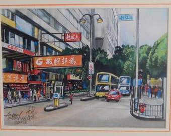 Hong Kong Street View; Watercolour Print