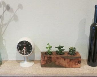 reclaimed wood planter succulents cactus rustic box cube