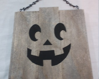 Pumpkin Rustic Wood Hanging Halloween Plaque