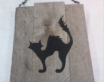 Halloween Cat Hanging Reclaimed Wood Plaque