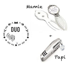 Earring and cufflink DUO granny-grandi birthday gift birth