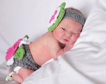 Crochet Diaper Cover and Headband