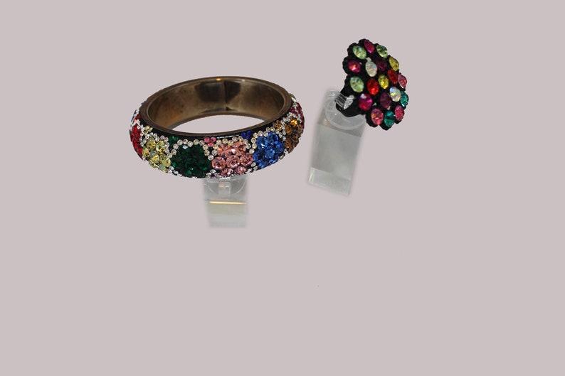 Gorgeous Large Bangle Rhinestone Bracelet with FREE Ring